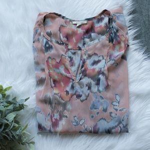 Pleione Watercolor Floral Sheer Blouse XL